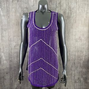 ANGL Royal Purple Sheer Sequin Beaded Tank Top